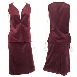 VTG 70s plum velveteen 2-pc suit dress 1970s dress